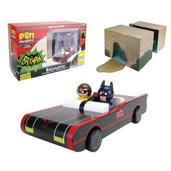 Batman Classic TV Series Batmobile with Batman and Robin Wooden Pin Mates and Papercraft Batcave
